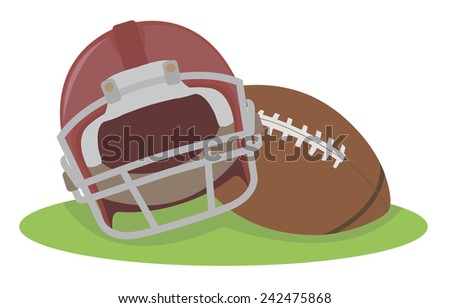 American football. Helmet and ball. Raster version - stock photo