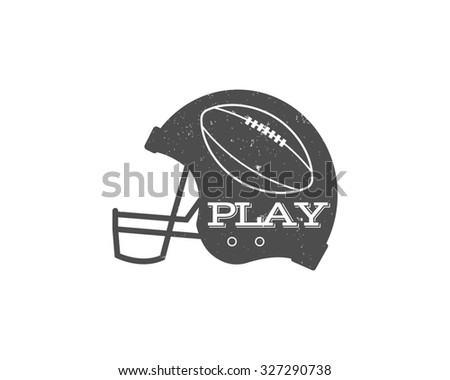 American football helmet with ball in vintage grunge style. Textured. Sports equipment, monochrome design isolated on white background. illustration - stock photo