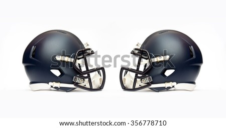 american football helmets isolated on white background - stock photo