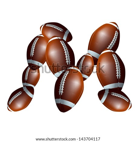 american football icon alphabet capital letter M