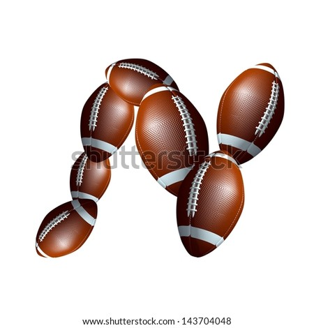american football icon alphabet capital letter N