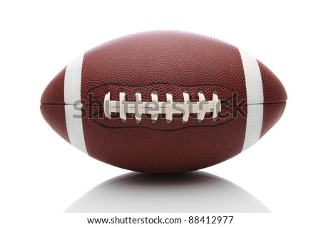 American Football isolated on white, with reflection. - stock photo