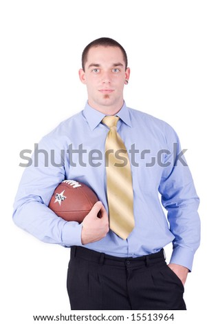 American football manager hold an american football ball - stock photo