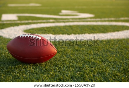 American Football near the Twenty Yard Line with room for copy - stock photo