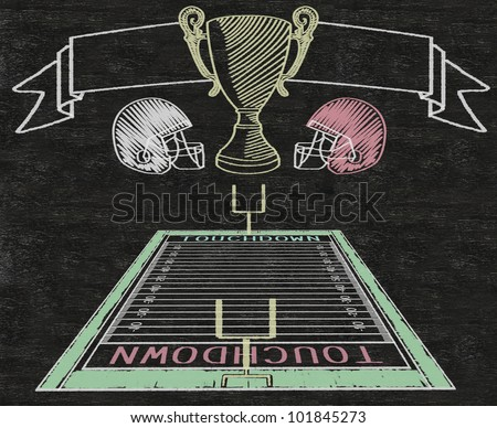American football on banner and color line match written on blackboard background high resolution, easy to use