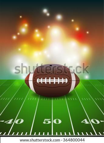 American football on grass turf field illustration. - stock photo