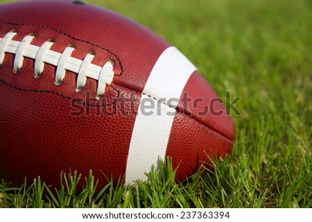 American Football on the Grass with Room for Copy - stock photo