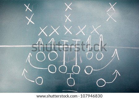 American football plan on blackboard - stock photo