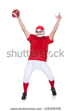 American Football player celebrating. Isolated on white