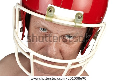 American football player, cut out on a white background. - stock photo