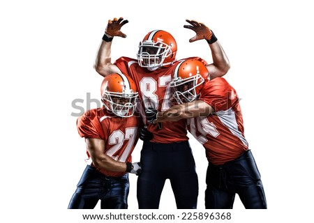 American football player in action white isolated - stock photo