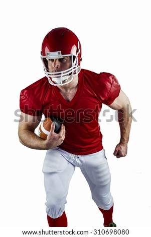 American football player running with ball on white background