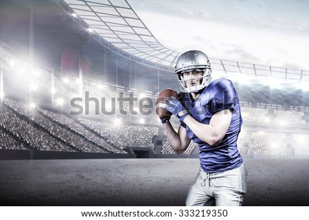American football player throwing ball over black background against rugby stadium