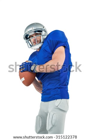 American football player throwing the ball on white background