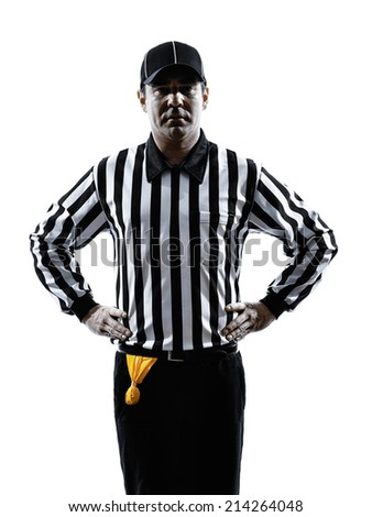 american football referee gestures offside in silhouette on white background - stock photo