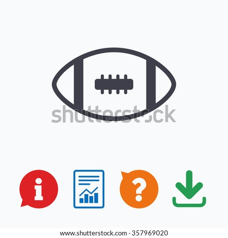 American football sign icon. Team sport game symbol. Information think bubble, question mark, download and report. - stock photo