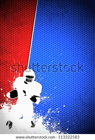 American football sport poster: running man and ball grunge background with space
