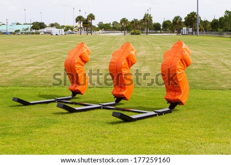 American Football training field - stock photo