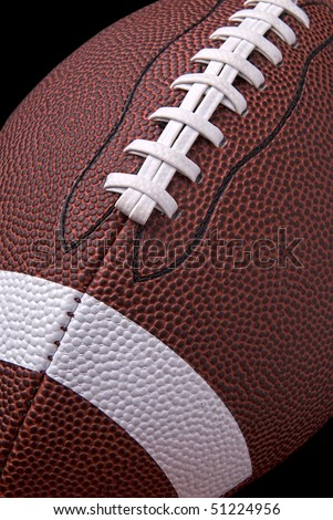 American football up close detail showing laces and stitching