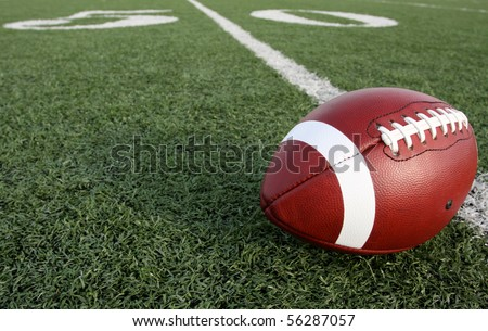 American Football with the Fifty Yard Line Beyond