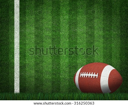 American Football with Yard Line on American Football Field.