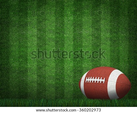 American Football with Yard Line on American Football Field