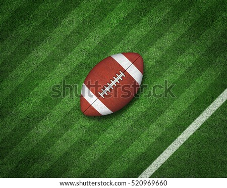 American Football with Yard Line on American Football Field. 3d rendering