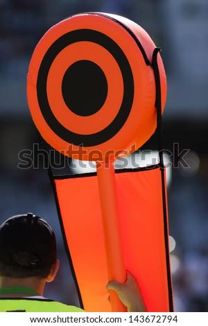 American football yard markers - stock photo