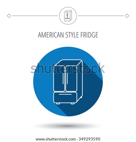 American fridge icon. Refrigerator sign. Blue flat circle button. Linear icon with shadow.  - stock photo
