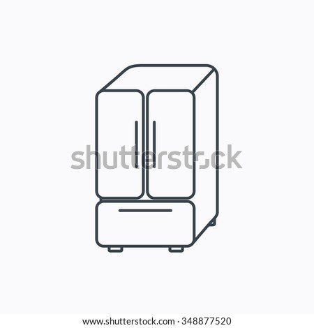 American fridge icon. Refrigerator sign. Linear outline icon on white background.  - stock photo