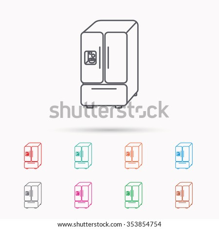 American fridge icon. Refrigerator with ice sign. Linear icons on white background. - stock photo