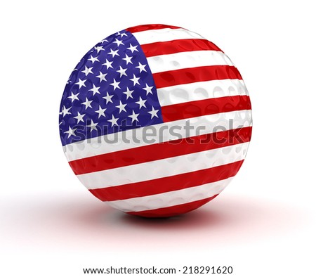 American Golf Ball (Isolated with clipping path) - stock photo