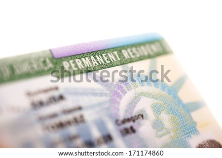 American Green Card - United States Permanent Residency Card Closeup. - stock photo