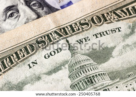American green dollar money detail and close-up. - stock photo