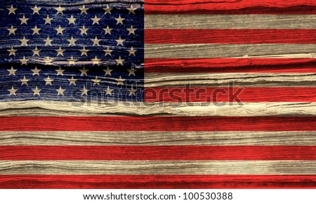 American grunge flag background - stock photo