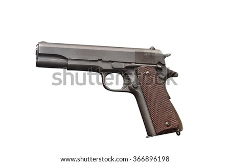 "American gun. In the early 1920s the new model has received the proud name of ""Colt M1911 A1 Government Model"" and became the main weapons officer in USA.  - stock photo"
