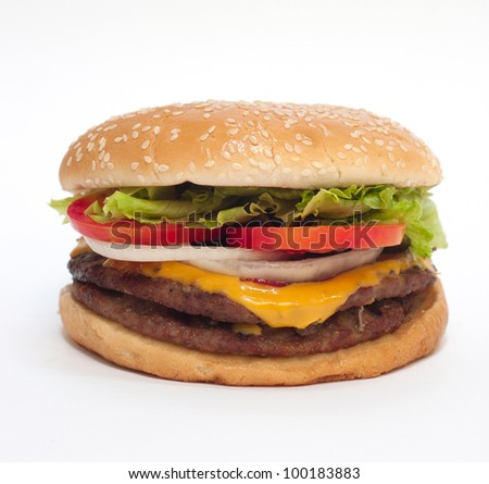 American Hamburger cheeseburger fast food on white isolation isolated background