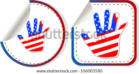 american hand sign stickers set. Raster