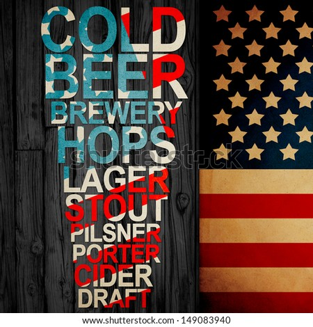 American Handrafted Beer Creative Ad - stock photo