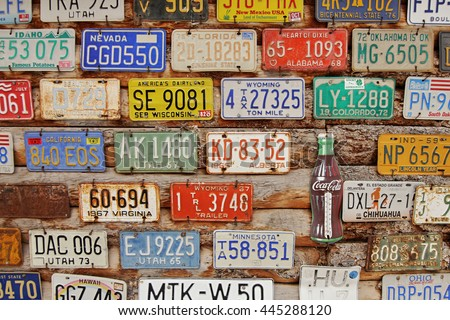 American Historical automobile license plates. Museum Hole in the Rock, Utah, USA. May 13, 2016 - stock photo