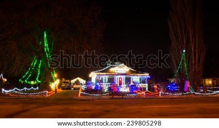 American home in Salt Lake City (Utah) decorated for Christmas - stock photo