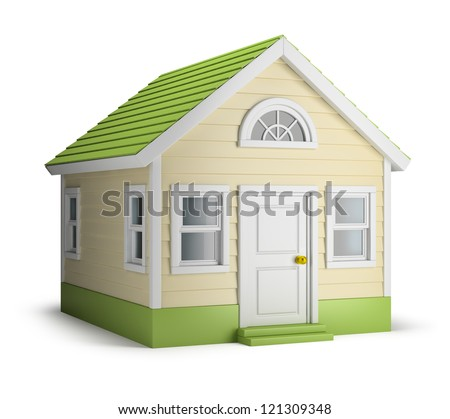 American house. 3d image. Isolated white background. - stock photo