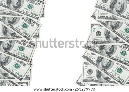 American hundred dollar bills. Background with place for text.