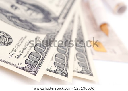 American hundred Dollar bills, credit card and pen