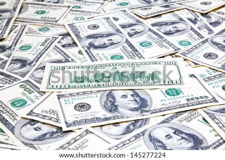 American hundred dollars banknotes background
