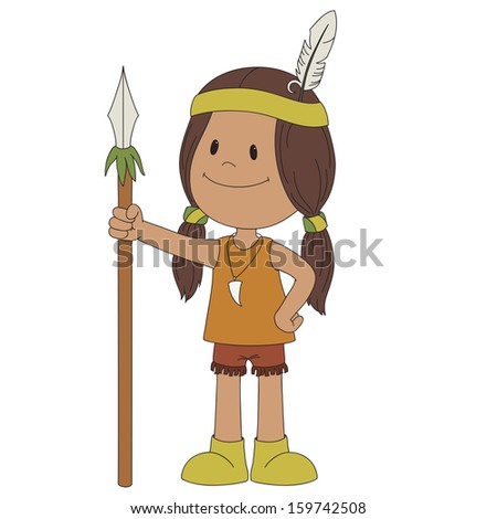American indian cheerful boy, isolated on white - stock photo