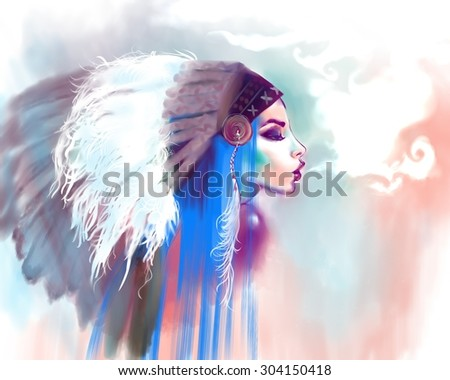 American Indian girl smoking a pipe, on a water color background. Indian woman with traditional make up and headdress looking to the side. Boho style fashion girl with blue hair. Smoke for message. - stock photo