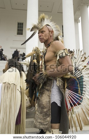 American Indian posing in front of Virginia State Capitol, Richmond Virginia, during ceremonies for the 400th Anniversary of the Jamestown Settlement on May 3, 2007 - stock photo