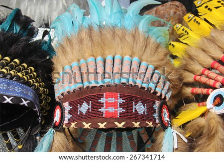 american indian  traditional costume - stock photo