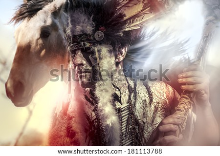 American Indian warrior, chief of the tribe. man with feather headdress and tomahawk, horse - stock photo